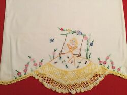 Vintage Southern Belle Hand Embroidered And Crocheted Pillowcases Swing Yellow
