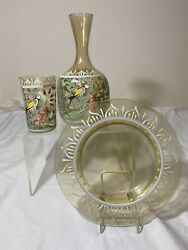 Vintage Blown Glass Murano Italy Hand Painted Water Carafe Tumbler Plate 3pc