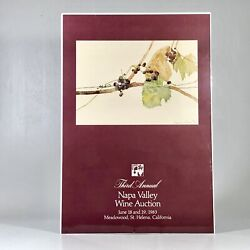 1983 Vintage Napa Valley Signed Full Color Wine Auction Poster Veronica Di Rosa