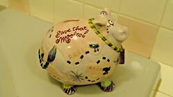 Vintage Fitz And Floyd Ceramic Adorable Cow Figurine/coin Bank Save That Moola