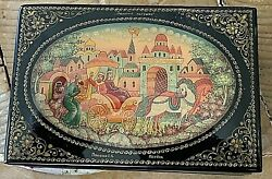 Russian Lacquer Box Hand Painted Scene Russian Fairy Tale. Signed. 3.5x2.5x1