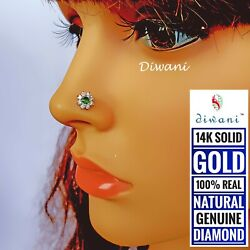 Real Diamond And Emerald 7.5mm Big Flower Gold Nose Lip Labret Screw Ring Stud Pin