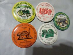 Five Pin Back Buttons Antique Tractor And Engine Show Ma. Maine Steam Engine Show