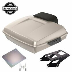 Advanblack Silver Fortune Razor Tour Pack Trunk Luggage Fit Harley 1997-2020