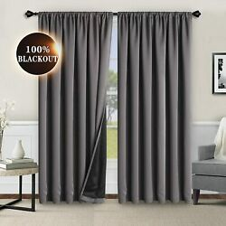 Wontex 100 Grey Blackout Curtains For Bedroom 52 X 84 Inches Long - Thermal Ins