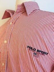Polo Sport Vintage 90s Red White Striped Stitched Logo Large