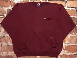 Vintage Champion Maroon Spell Out Logo 1990s Tags Crew Neck Mens Xl