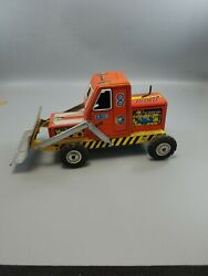 Toy Tin Tractor With Snow Plow Blade As Marking H Made In Japan