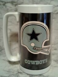 Vntg Nfl Thermo Serv Dallas Cowboys Stein Insulated Mug Cup Football Team Beer