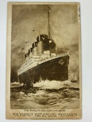 1911 World's Greatest Steamers Olympic Titanic Postcard White Star Line Promo Ad