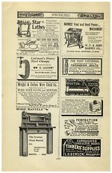1896 Paper Ad Barnes' Foot Pedal Hand Power Table Saw Star Lathe
