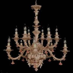 Capodimonte Made In Italy Chandelier 12 Light And 3 Cherub Brown And Gold Finish New