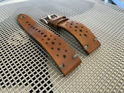 21mm Light Brown Vegetable Tanned Vintage Leather Watch Straps Gray Stitch