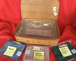 Longaberger Letter Tray Basket 4pc Protector 3 Liners Wood Lid See New
