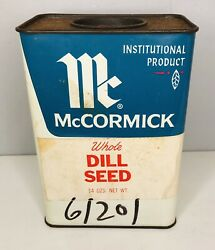 Vintage Mccormick Whole Dill Seed Large 14 Oz Spice Tin Advertising