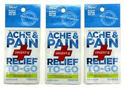 Urgent Rx Ache And Pain Travel Powder Pack Fast Acting Lemon Lime Flavor Lot Of 3