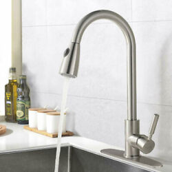Single Handle Kitchen Sink Faucet Pull Out Sprayer Brushed Nickel With 10 Cover