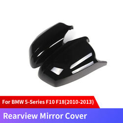 Black Carbon Fiber Side Rearview Mirror Cover For Bmw 5-series F10 F18 2010-2013