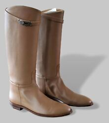 Hermes Tabac Leather Womenand039s Jumping Equistrian Style Boots Sz 40.5 Bnib