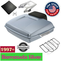 Barracuda Silver Razor Tour Pack Trunk Luggage Backrest For 97-20 Harley Touring