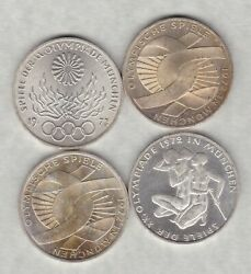Four German Federal Silver 10 Marks 1972f And 1972j In Near Mint Condition.