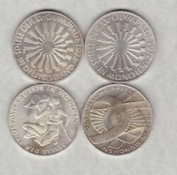 Four German Federal Silver 10 Marks 1972d/1972f And 1972j In Near Mint Condition.