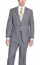 Zanetti Mens Classic Fit Light Gray Glen Plaid Two Button Wool Suit