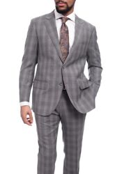 Napoli Classic Fit Gray Glen Plaid Half Canvassed Super 150s Wool Suit