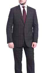 Napoli Classic Fit Gray And Red Glen Plaid Half Canvassed Super 150s Wool Suit