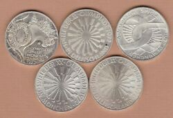 Five German Federal Silver 10 Marks 1972d/ 1972f And 1972g In Near Mint Condition.