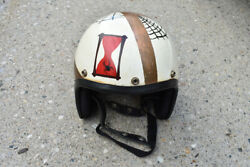Vintage Hand Painted Motorcycle Safety Helmet Spider Hourglass Club Chopper