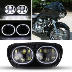 Motorcycle Led Headlamp Dual Headlight Bulb Fit For Harley Touring Road Glide Us