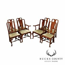 The Henry Ford Museum Collection Set 8 Solid Mahogany Queen Anne Dining Chairs
