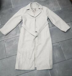 Cos Wool Trench Coat - Eur 34 Cream With Multi Coloured Speckles