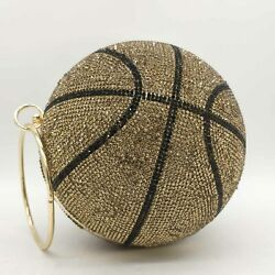 Round Ball Gold Clutch Purses Women Basketball Evening Bags Rhinestone Handbags $35.99