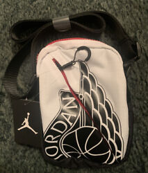Nike Jordan Wings Festival Messenger Shoulder Crossbody Black amp; White Bag $33.00