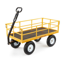 1200 Lbs Heavy Duty Steel Yard Cart Garden Lawn Utility Wagon Removable Flatbed
