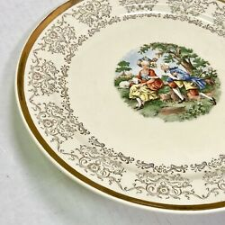 Taylor Smith Taylor China Numbered 22kt Gold Layered Colonial Couple Plate