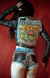 Toxic Vision Motley Crue Biker Jacket Sexy Metal Studded Leather