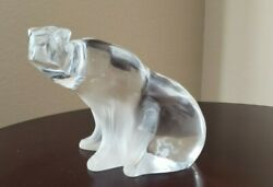 Large Lalique Frosted/ Clear Crystal Polar Bear France