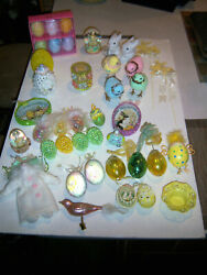 Vtg Adorable Huge Lot Variety Neat Unusual Easter Ornaments And More Decor