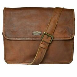 Leather Messenger Laptop Satchel Briefcase Shoulder bag For Men#x27;s 16quot; Genuine $46.00