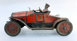 Antique 1920and039s Hess Mobil 1020 Jlh Flywheel Litho Vintage Car Tin Toy Germany