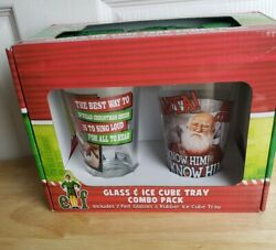 Elf Glass And Ice Cube Tray Combo Pack - Includes 2 Pint Glasses And Rubber Ice Tray