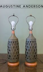 Vintage Pair Reticulated Pottery Table Lamps, Handmade, Large, Green,mid-century