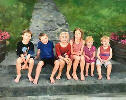 Custom Children Oil Portrait On Canvas From Photo, Mother's Gift, Art Commission