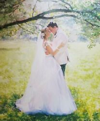 Commission Wedding Oil Portrait Painting From Photo, Custom Art, Wedding Gift