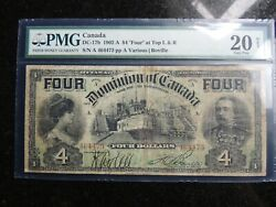 1902 Dominion Of Canada 4 Four Dollars At Top Dc-17b Certified Pmg Vf-20 Net