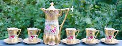 Nippon Pink Roses Gold Morriage Jeweled Chocolate Set - Pot, 5 Cups And Saucers