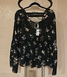 Socialite Nordstrom Womens Long Sleeve Rayon Floral Black Shirt Size L NWT $14.00